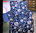 blue floral slipcovered chair