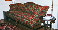 red slipcovered flora sofa